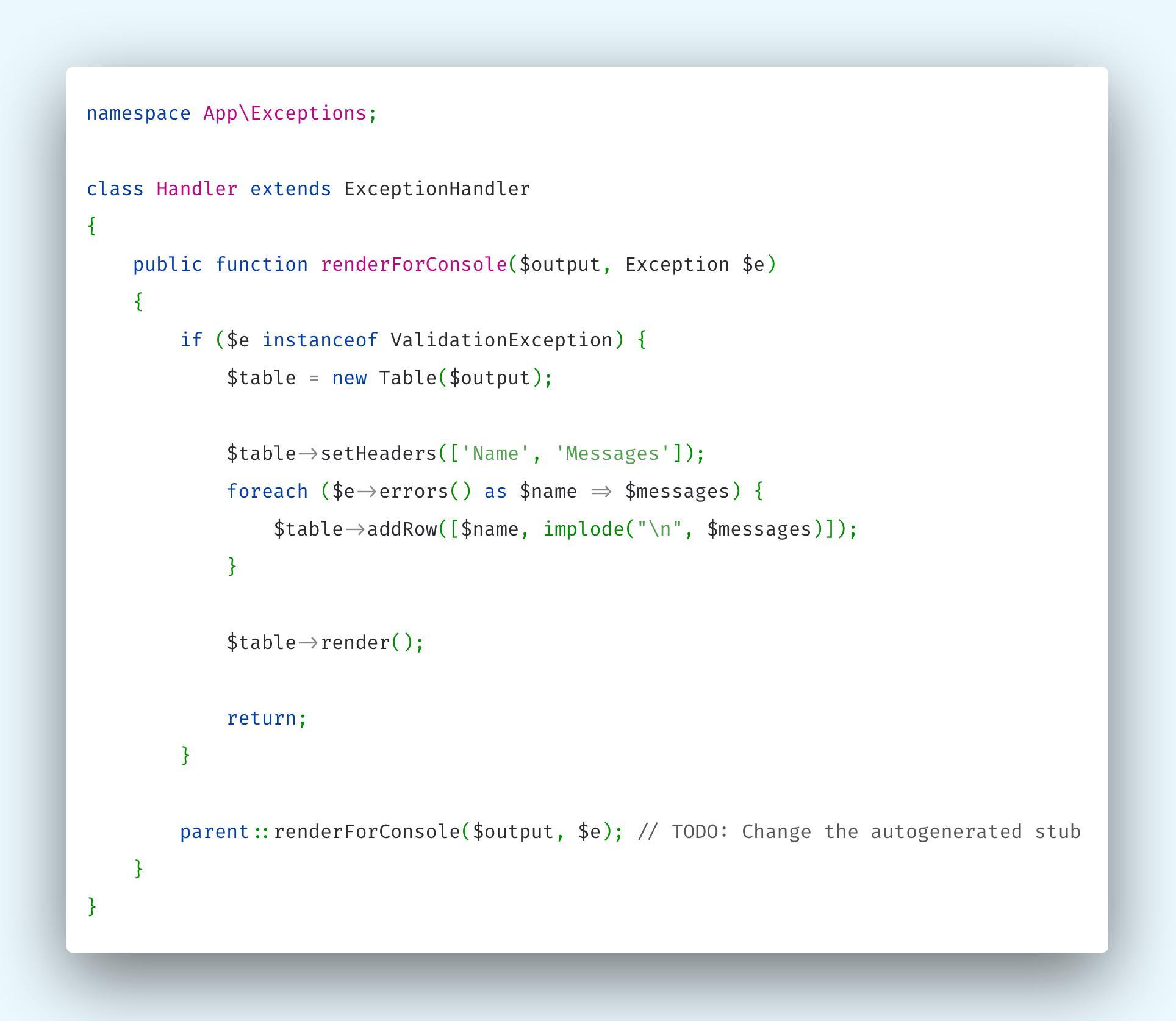 Overriding Laravel's App\Exceptions\Handler