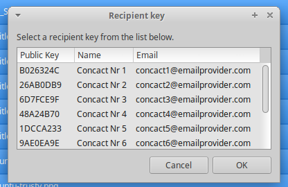 Recipient public key selection