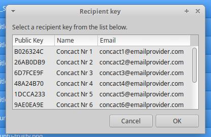 Recipient public key selection