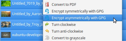 asymmetric GPG encryption in Thunar context menu