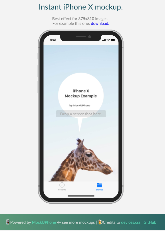 iPhone X Mock up by MockUPhone