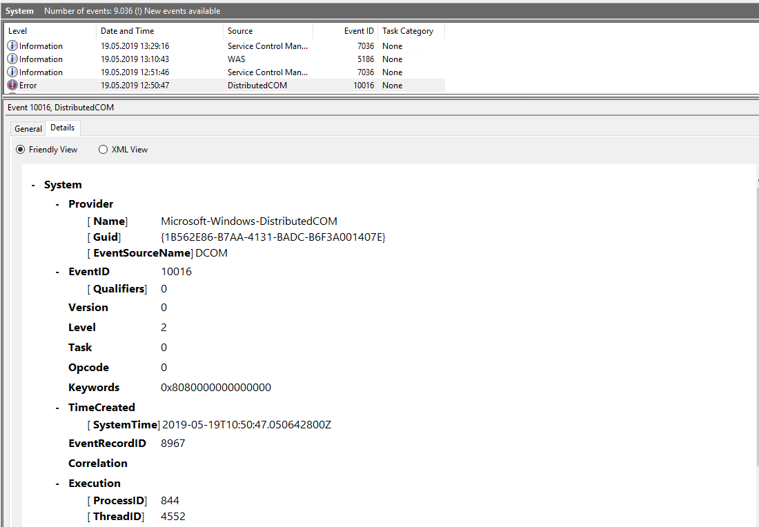 Eventlog error when hosting on iis with httpsys: The