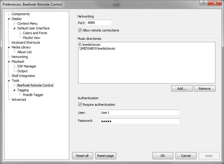 Configuration screen for foobar2000