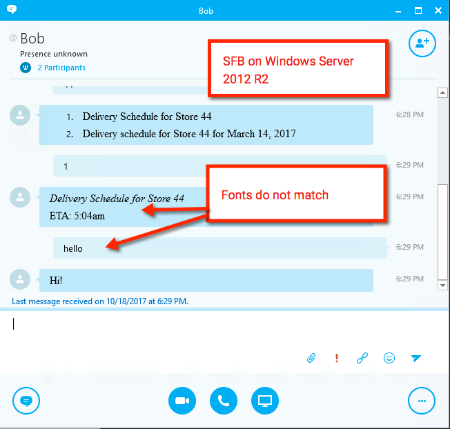 Skype for Business] Bot responses appear in Times font on