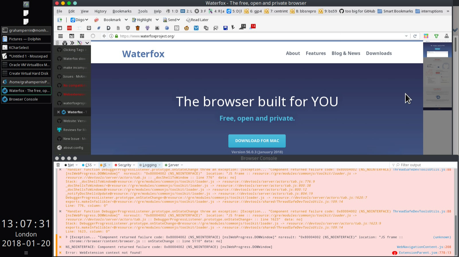 waterfoxproject org displays operating system incorrect