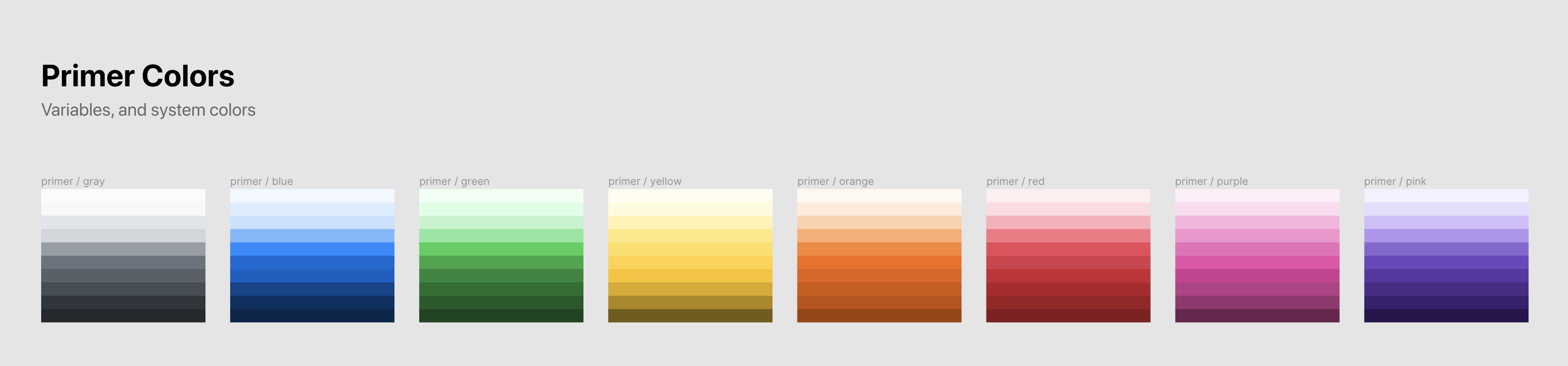 Primer Primitives base colors displayed together
