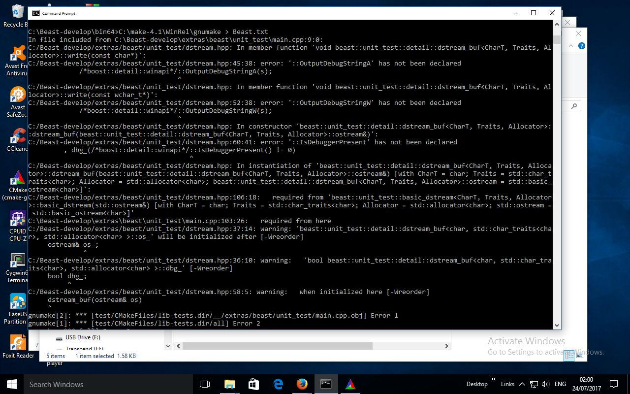 try to build cmake+mingw+win10/64bit problem · Issue #672