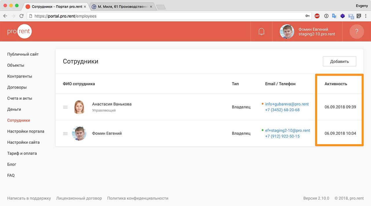 Скриншот Активность сотрудников
