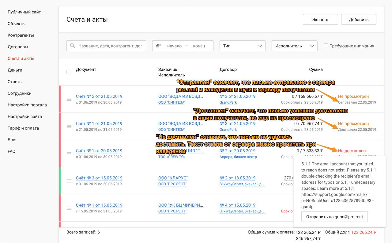 Скриншот Статус доставки email