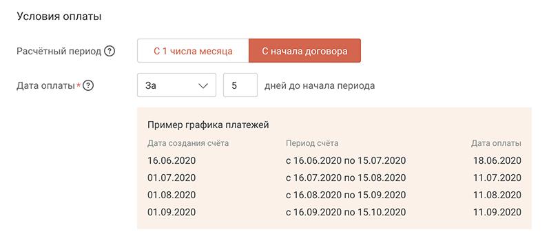 Скриншот: Период оплаты с даты договора
