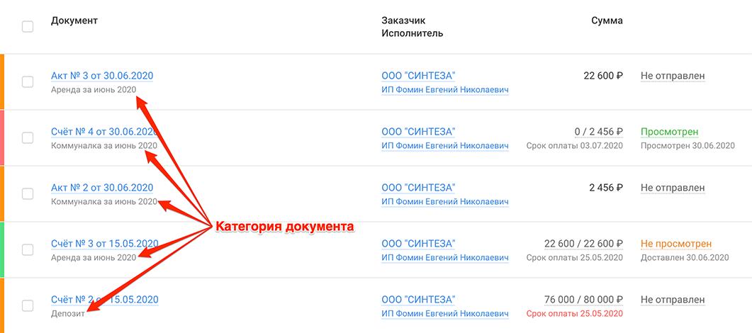 Скриншот: Категории счетов и актов