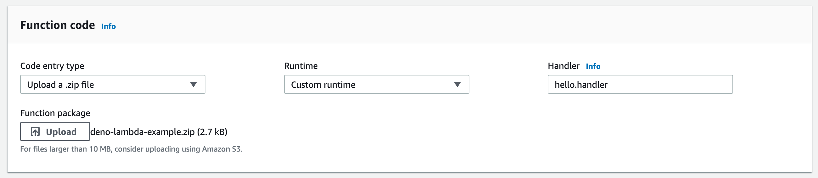 Upload function code