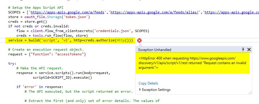 googleapiclient errors HttpError: <HttpError 400 when