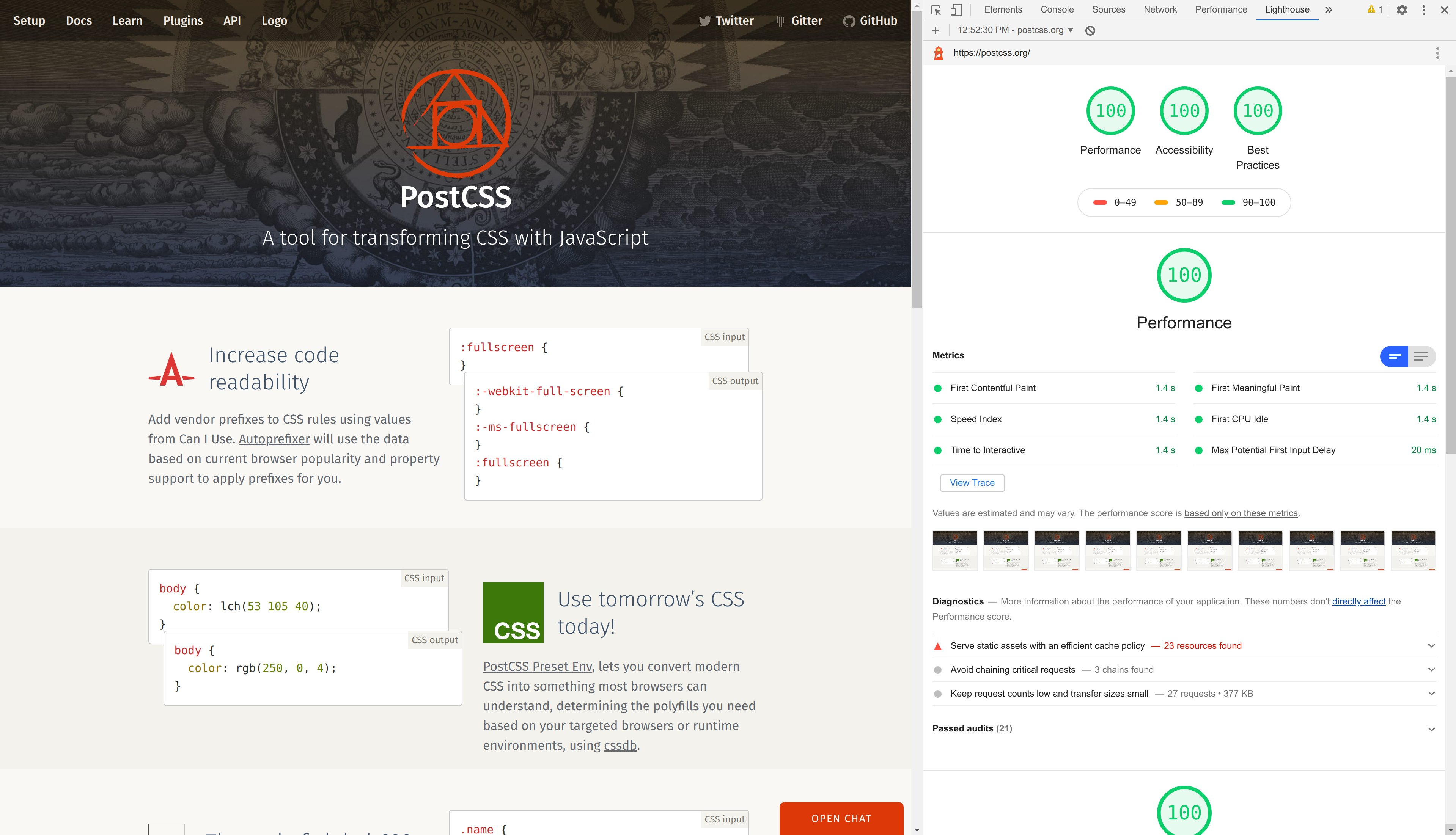 PostCSS website performance results