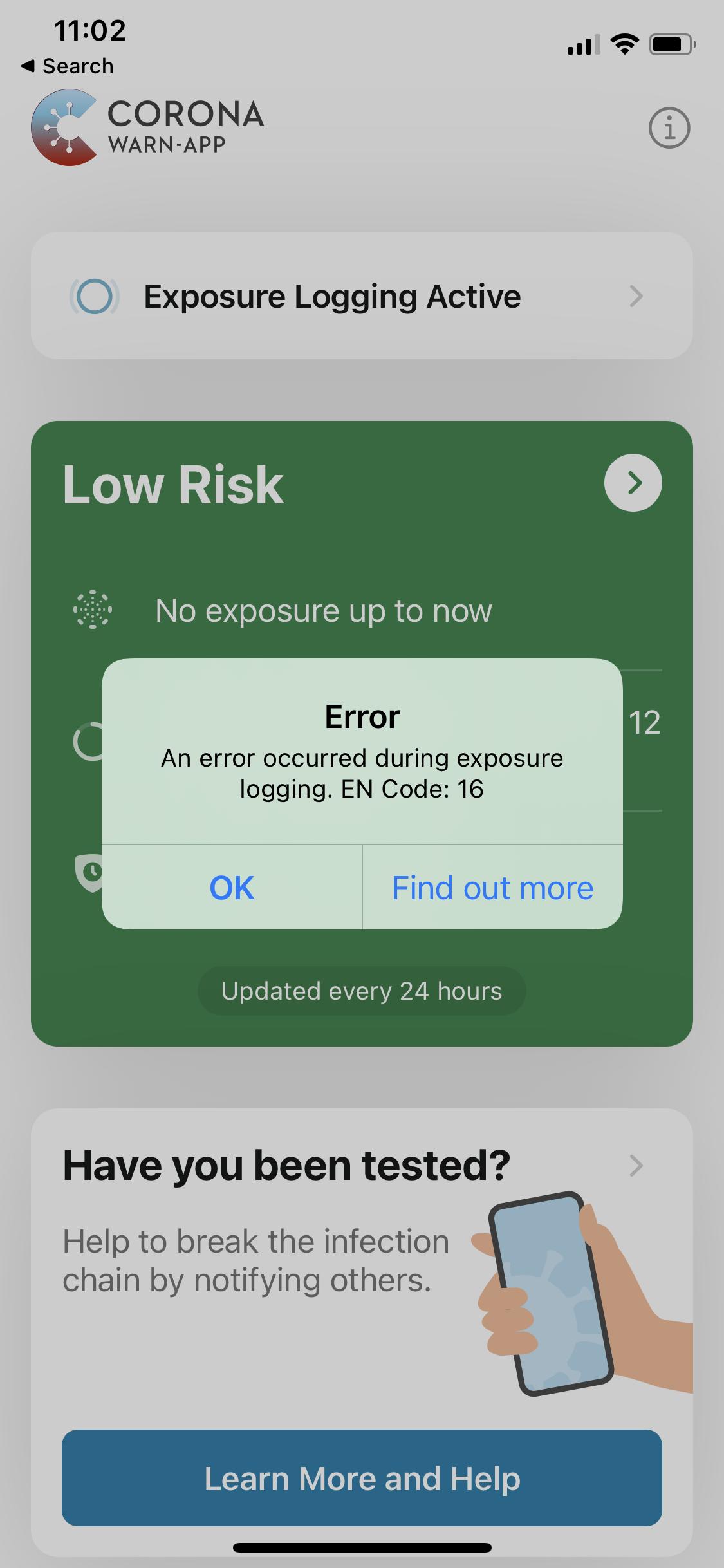 Corona App Error