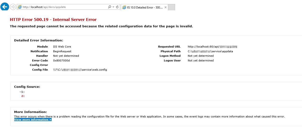HTTP ERROR 500 19 IIS 10 - HTTP ERRPR 500 19 Internal Server