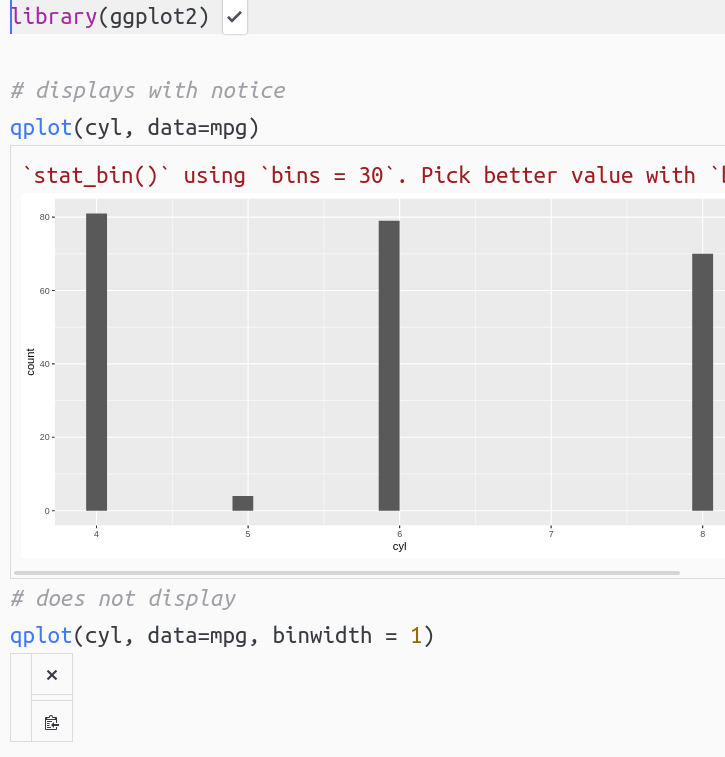 Using R w/ ggplot + qplot: plots only printed when notice is