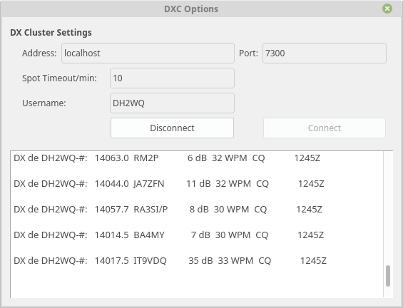 Adding Support for DX Cluster in GQRX by dh2wq · Pull
