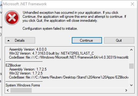 microsoft net framework error unhandled exception