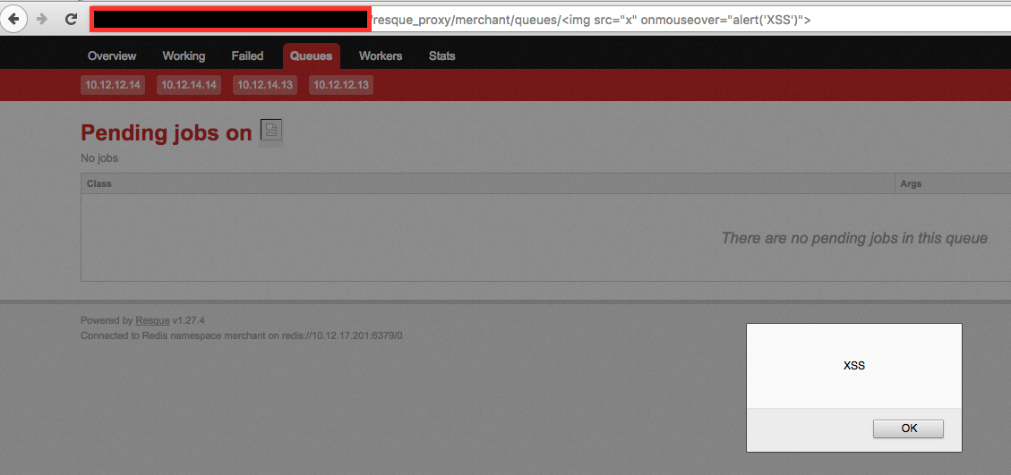 resque] Possible XSS for web panel on GitHub Issues