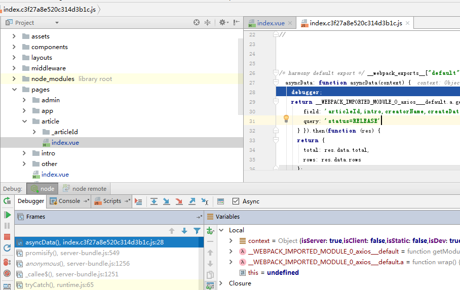 How to debug nuxt in JetBrains WebStorm? · Issue #1577