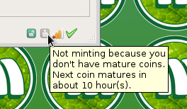 Tooltip indicating time until a coin matures