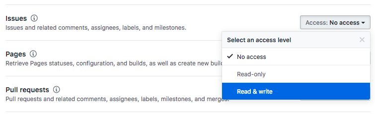 GitHub App Permissions: Issues Read Only Access   ? · Issue #111