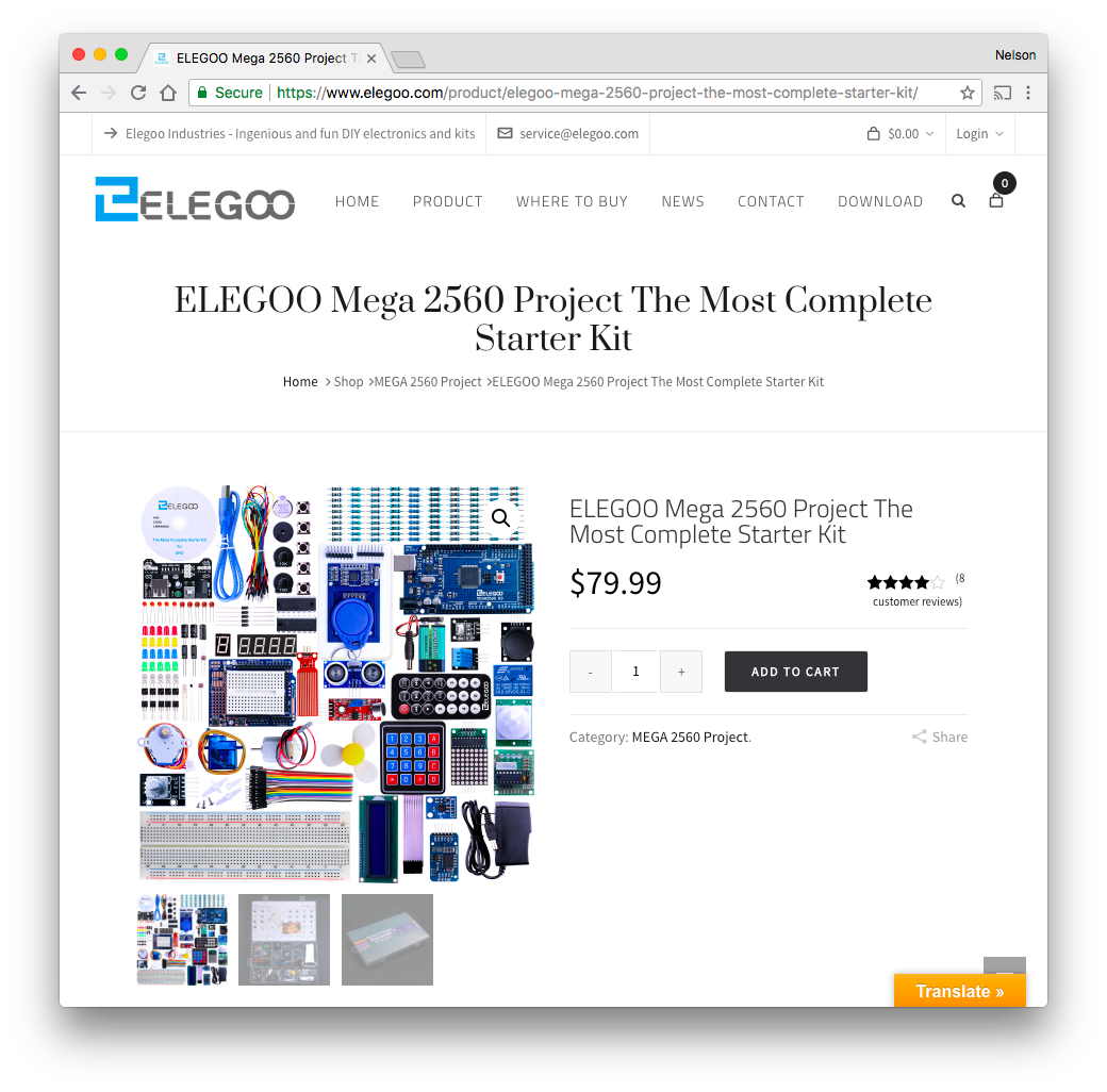 ELEGOO Mega 2560 Project The Most Complete Starter Kit