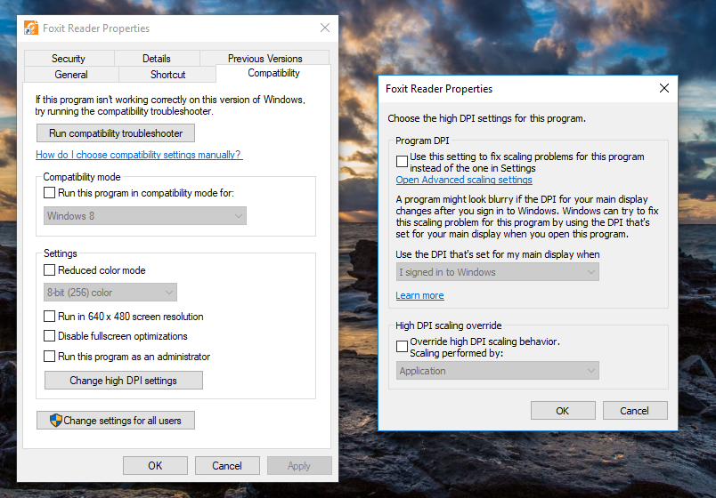 Windows 10 HiDPI settings