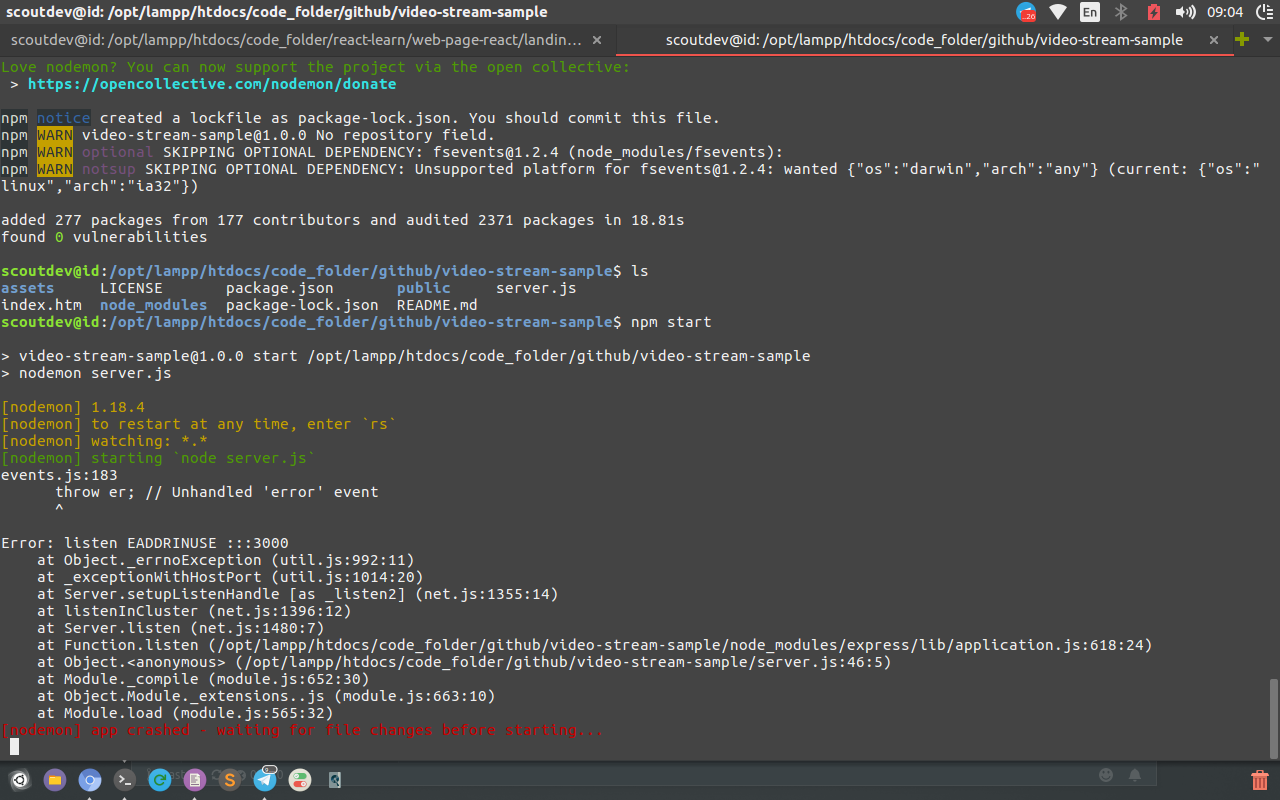 Nodemon App Crashed Waiting For File Changes Before Starting Issue 4 Daspinola Video Stream Sample Github