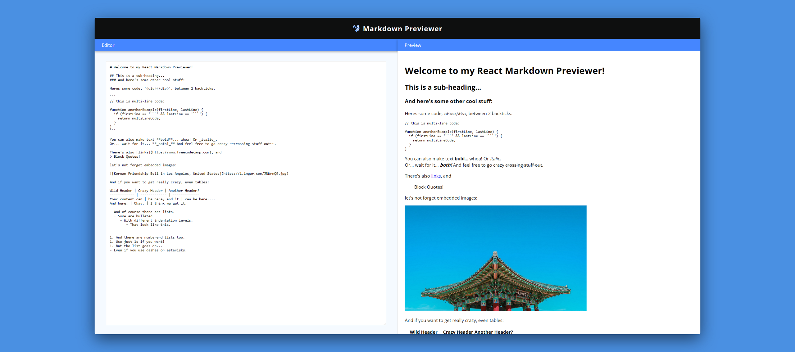 preview of markdown previewer made with screely