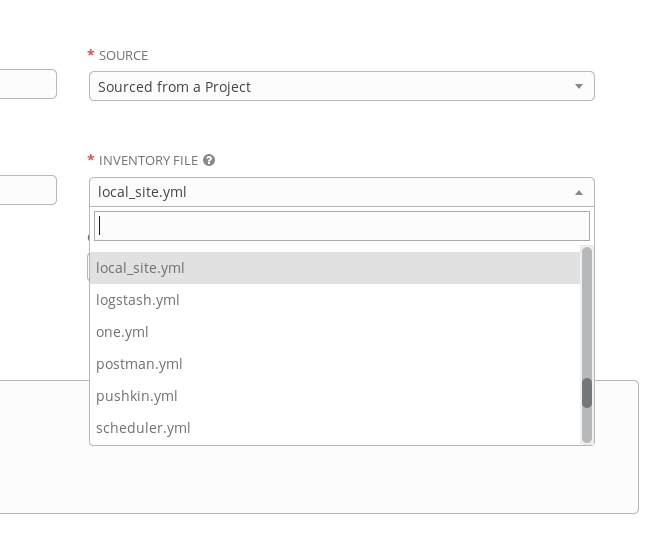 Selecting an inventory file from a project only lists yml files