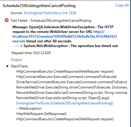 HTTP request to the remote WebDriver timed out in 60 seconds