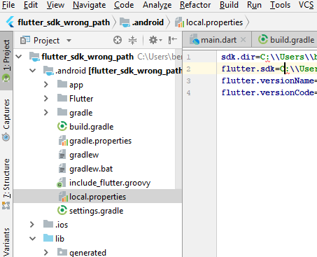 flutter sdk path in Flutter/Android Studio /Windows drive separator