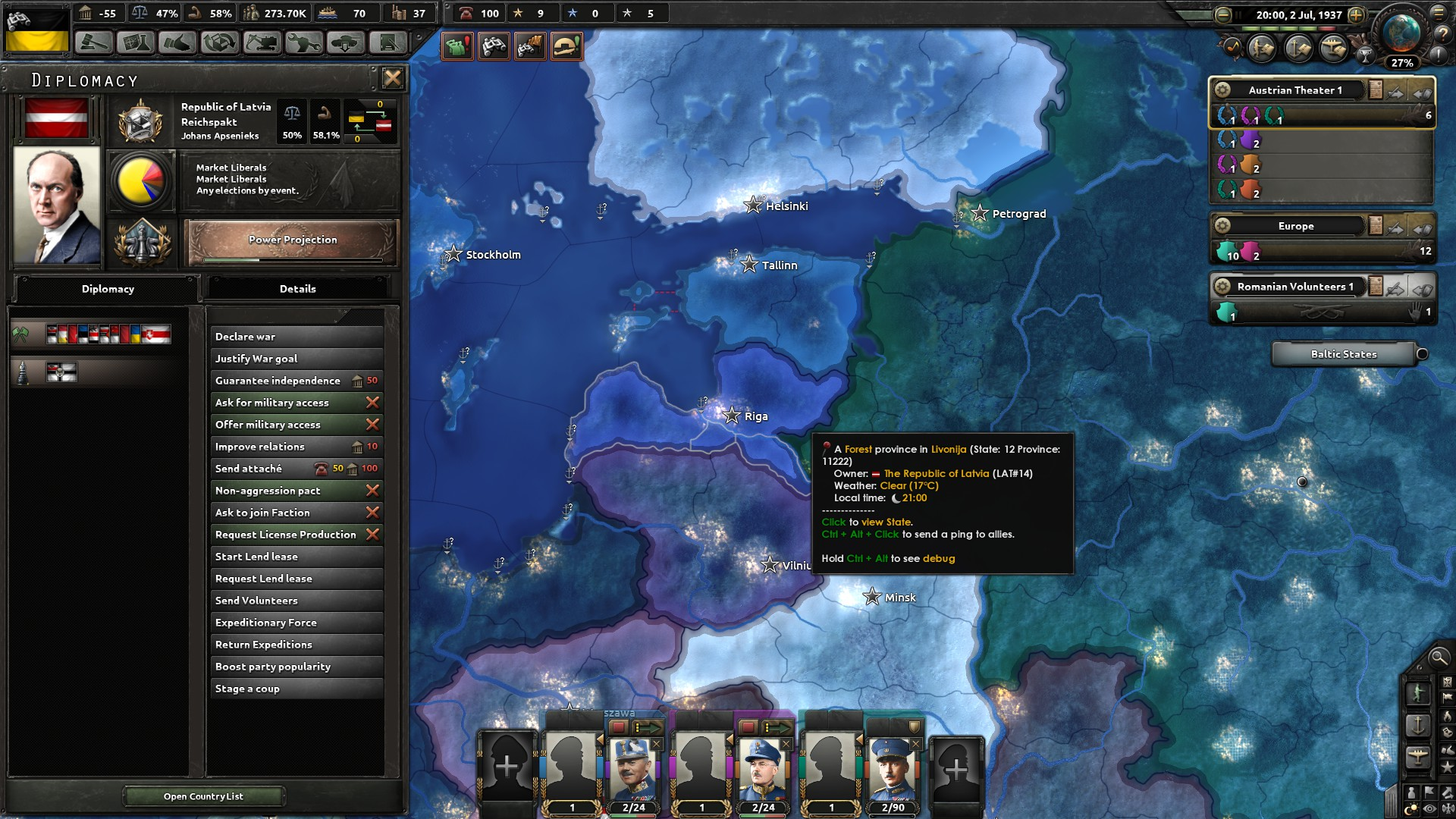 Baltic got wiped out, Germany annex LAT and EST only to