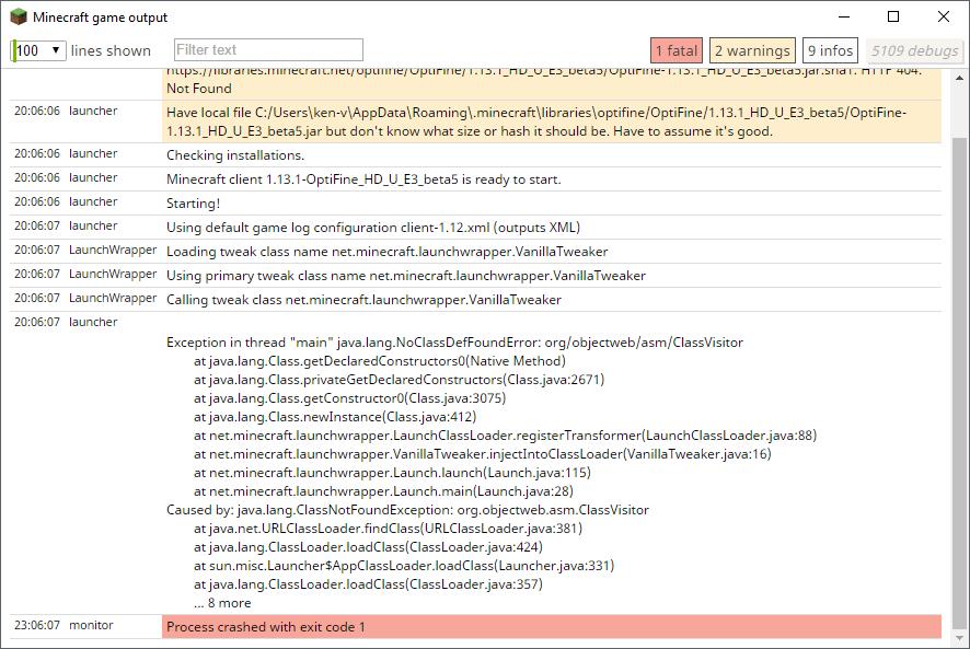 Crash when launching OptiFine 1 13 HD U E3 alpha8 · Issue