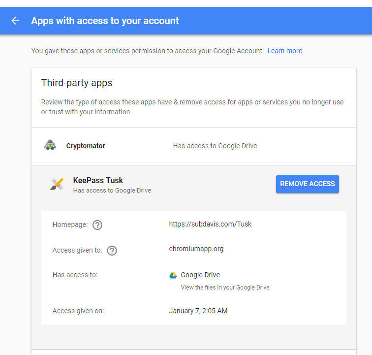 Tusk Periodically Requires Google Drive Reauthentication