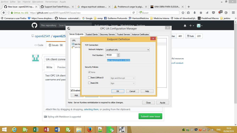 UA client connect to Kepware server error