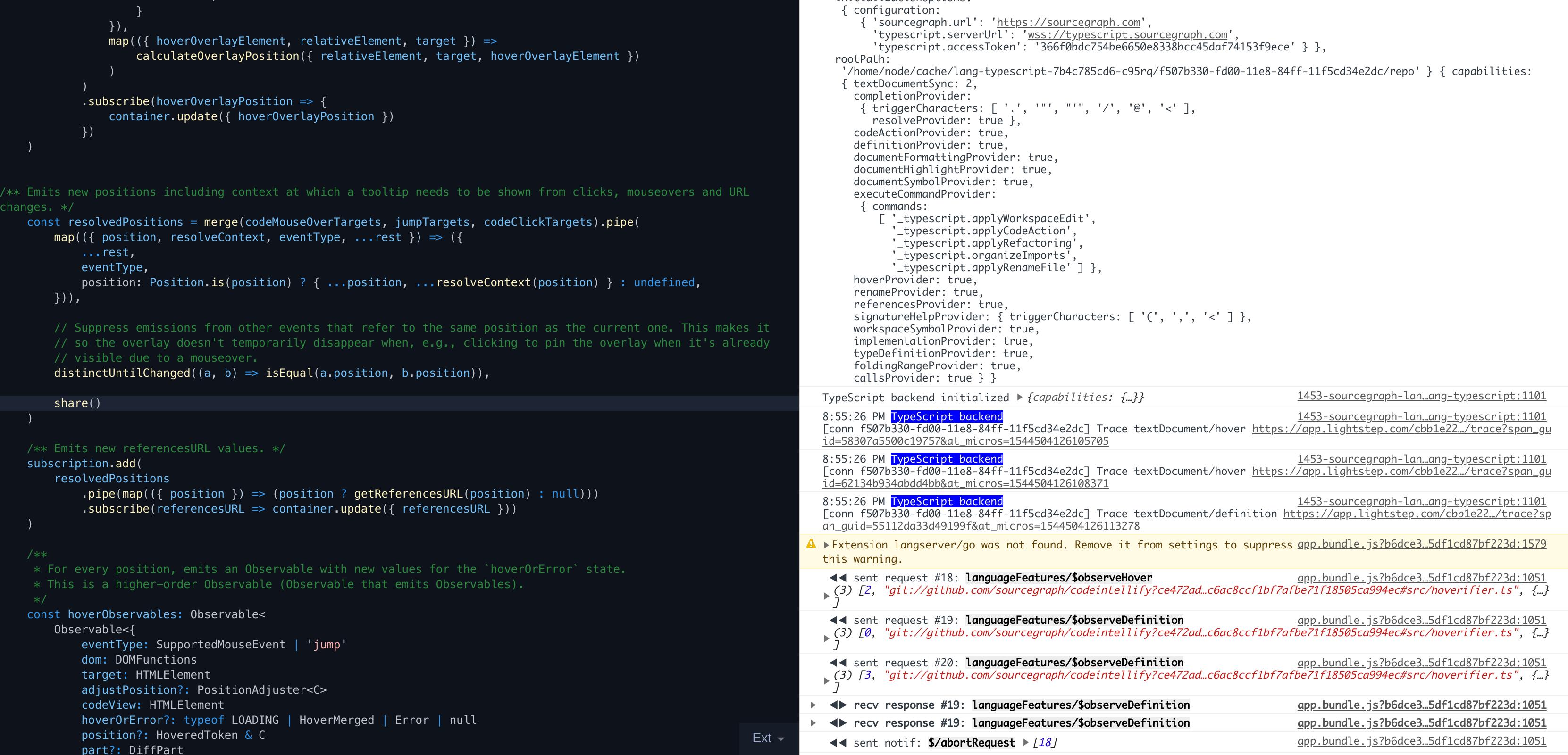 TypeScript hover provider never returns · Issue #1335
