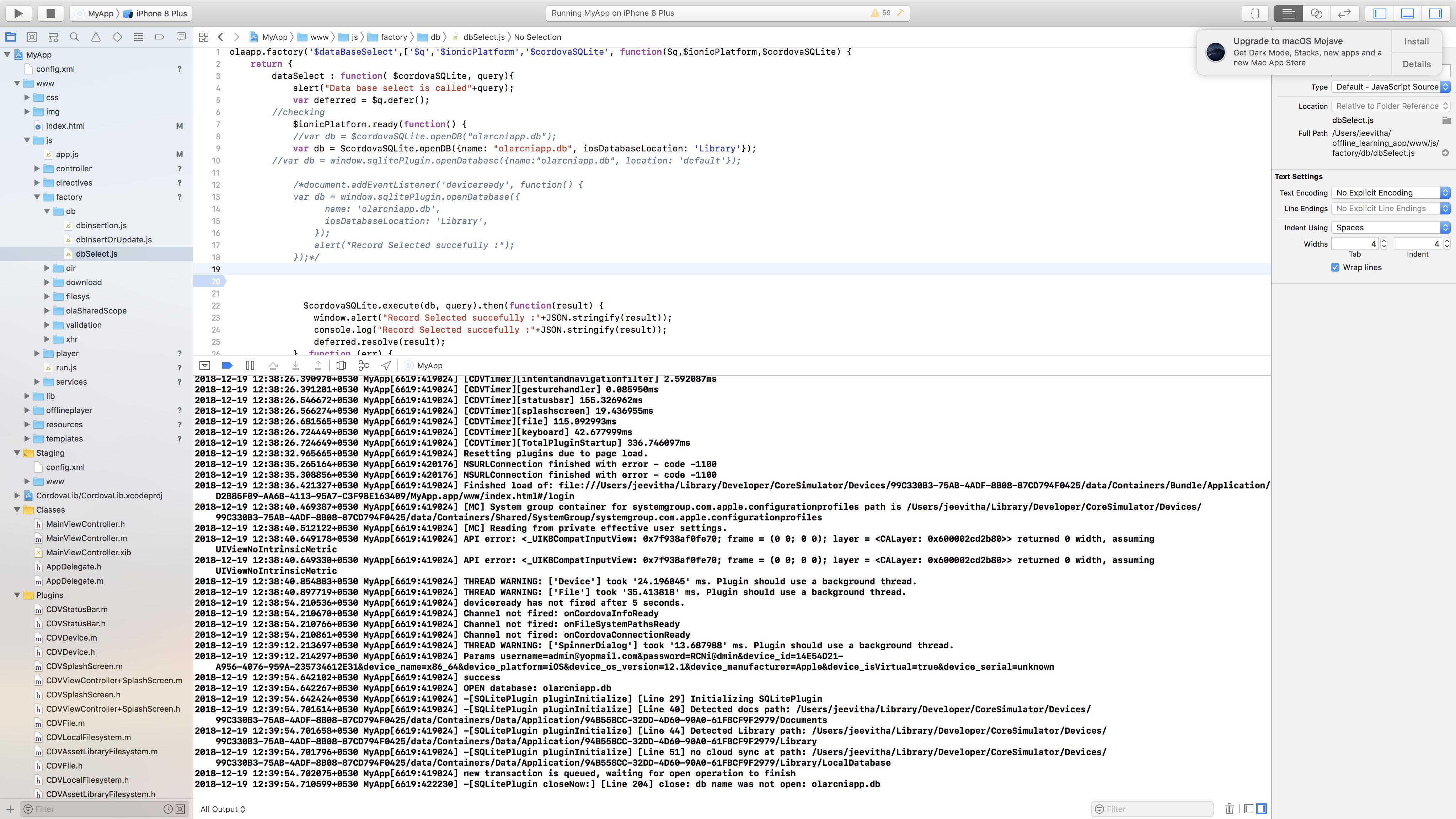 Coming across the error 'database not open' in SQLitePlugin