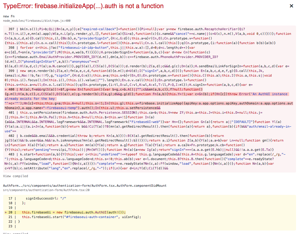 Firebase UI not working with last Firebase SDK version 5 8 x