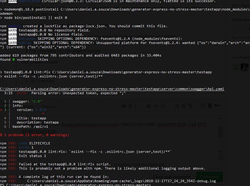 Problem the create app · Issue #23 · cdimascio/generator-express-no