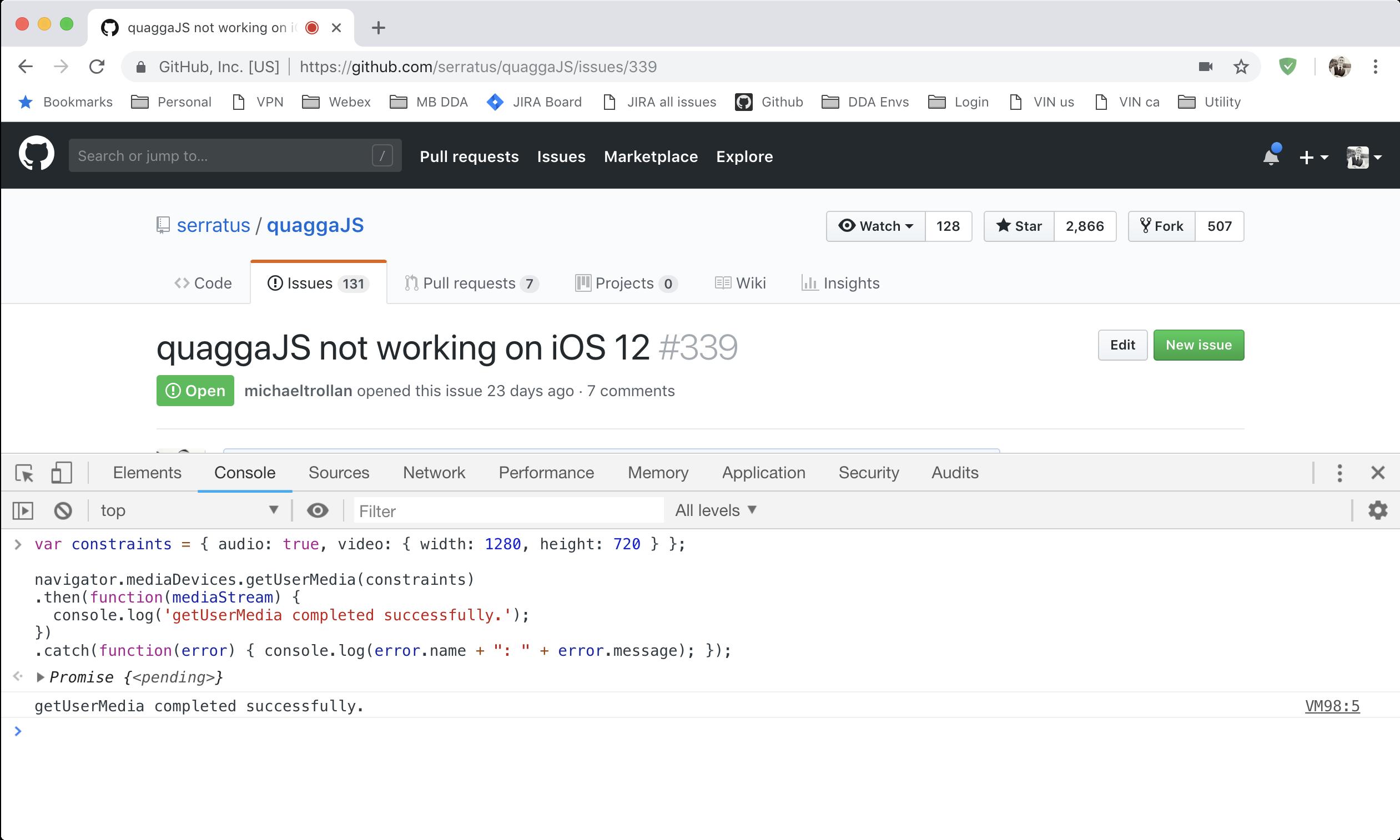 quaggaJS not working on iOS 12 · Issue #339 · serratus