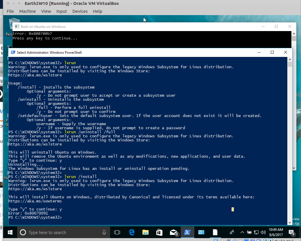 WSL lxrun Uninstall/Install error 0x80070091 and 0x800700b7
