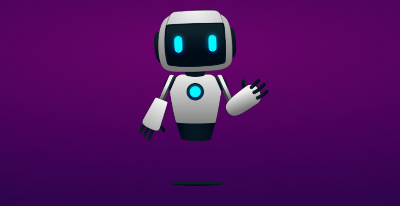 Image of Abbot, a robot, against a purple background