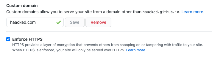 Screen shot showing a checkbox for enforcing HTTPS