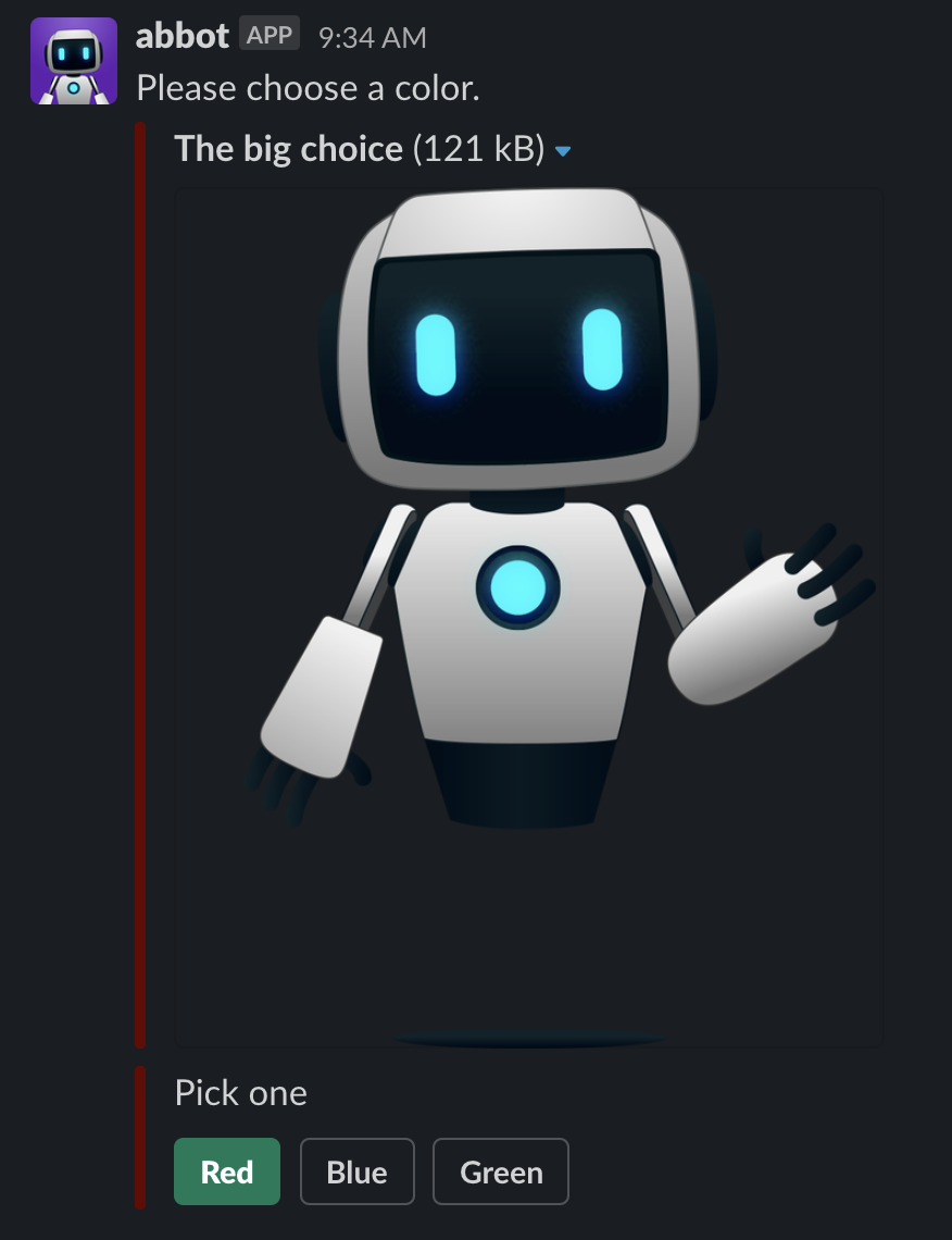 Image of chat message with an image and three buttons