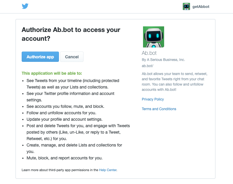Page used to authorize Ab.bot