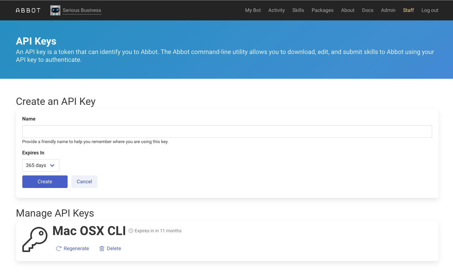 Abbot API Keys Page