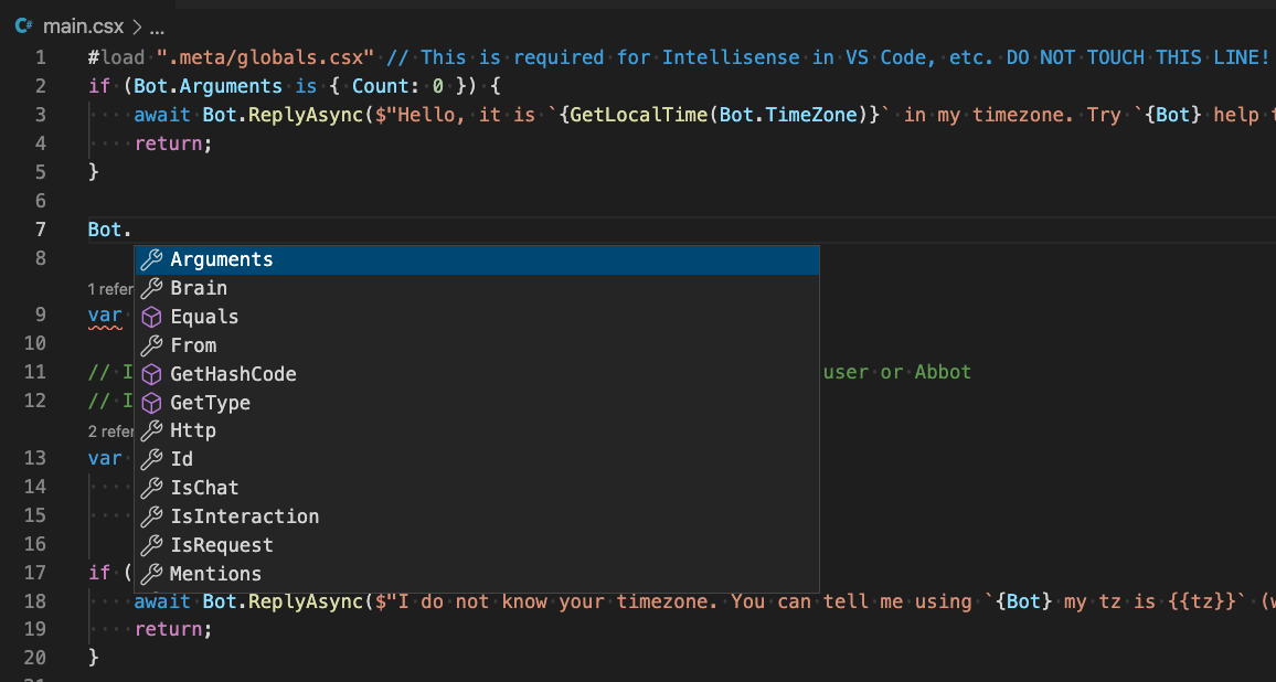 Screen shot of VS Code showing Intellisense for Bot